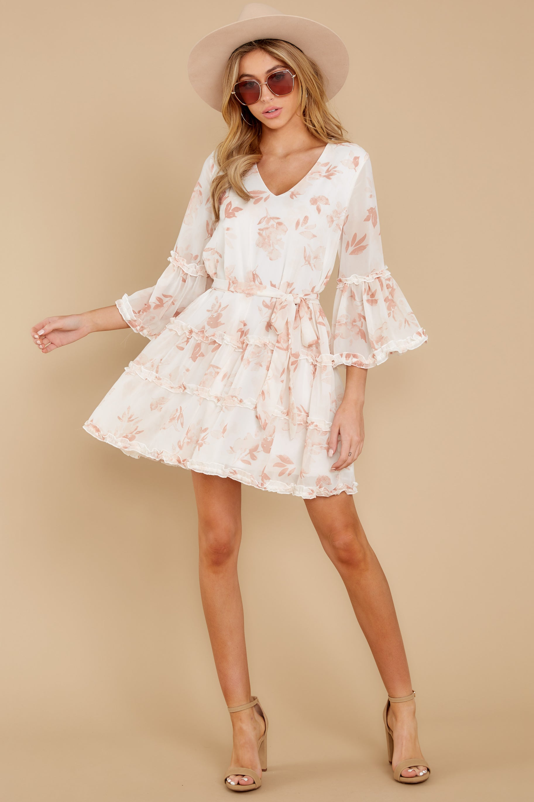 1 Here With Me Peach Print Dress at reddressboutique.com