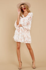2 Here With Me Peach Print Dress at reddressboutique.com