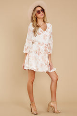 3 Here With Me Peach Print Dress at reddressboutique.com