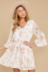 6 Here With Me Peach Print Dress at reddressboutique.com