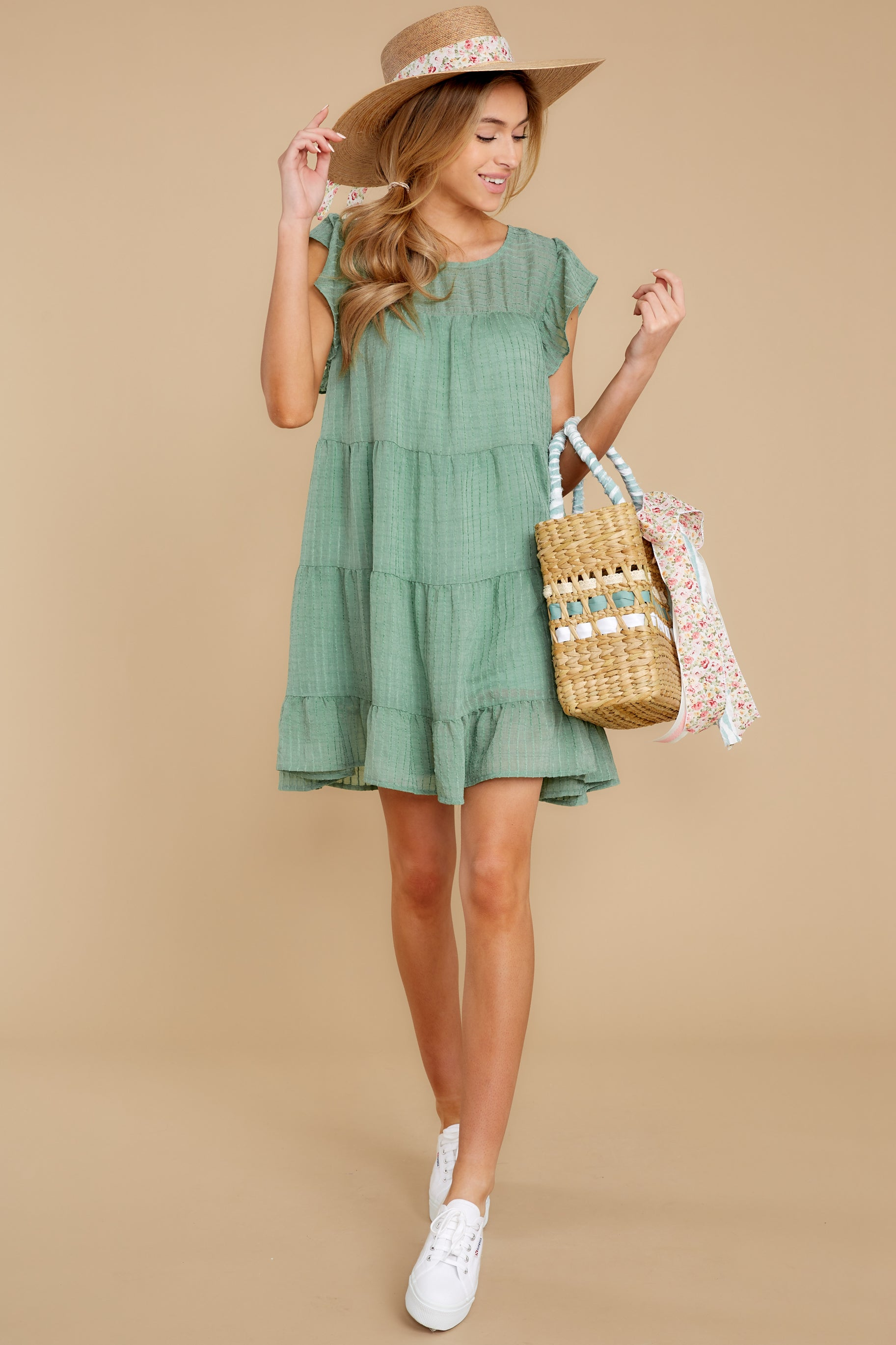 2 Feeling Fine Sage Dress at reddressboutique.com