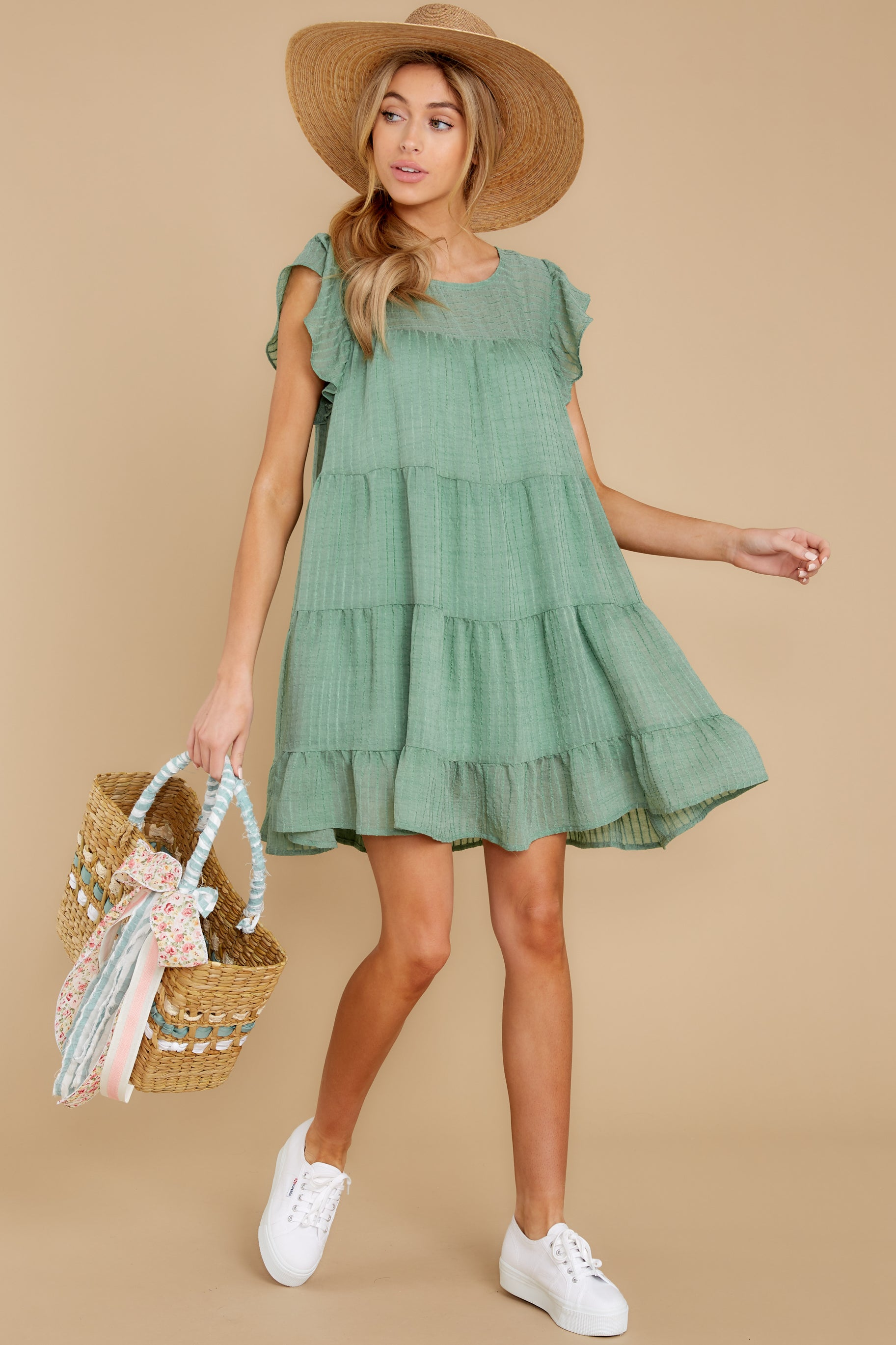 3 Feeling Fine Sage Dress at reddressboutique.com