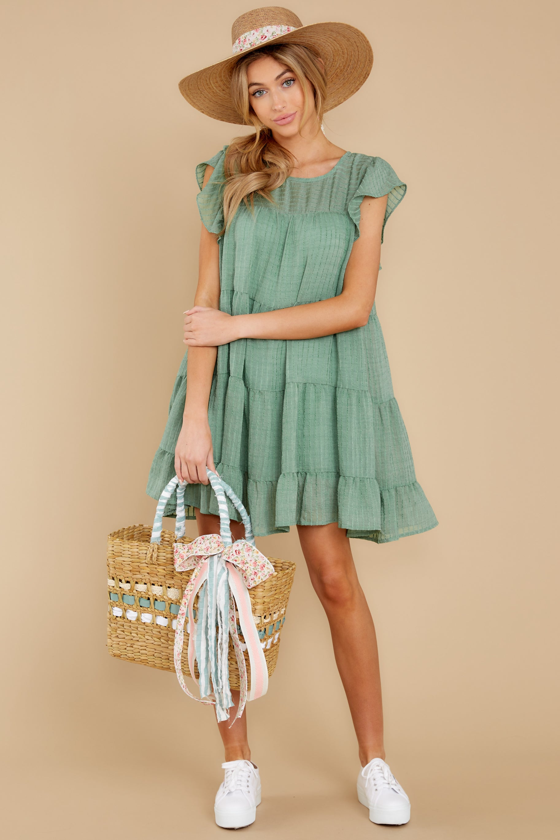 4 Feeling Fine Sage Dress at reddressboutique.com