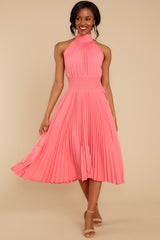 1 Fashionably Late Pink Midi Dress at reddressboutique.com