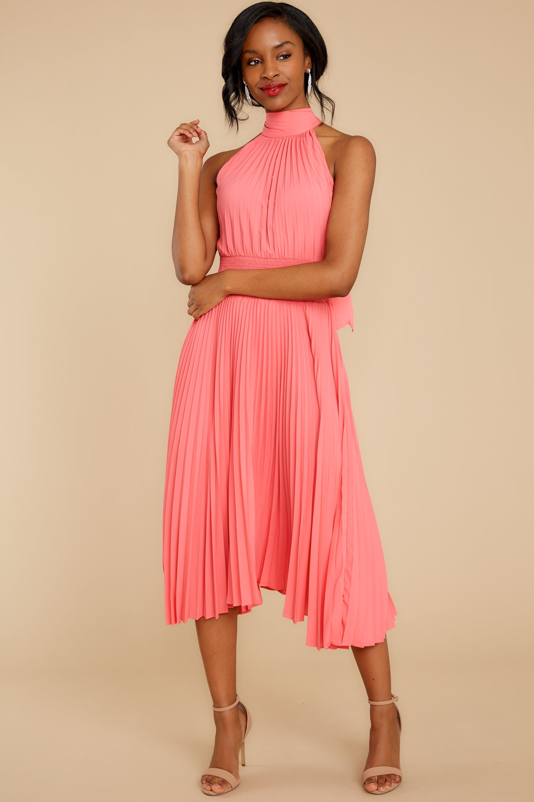 6 Fashionably Late Pink Midi Dress at reddressboutique.com