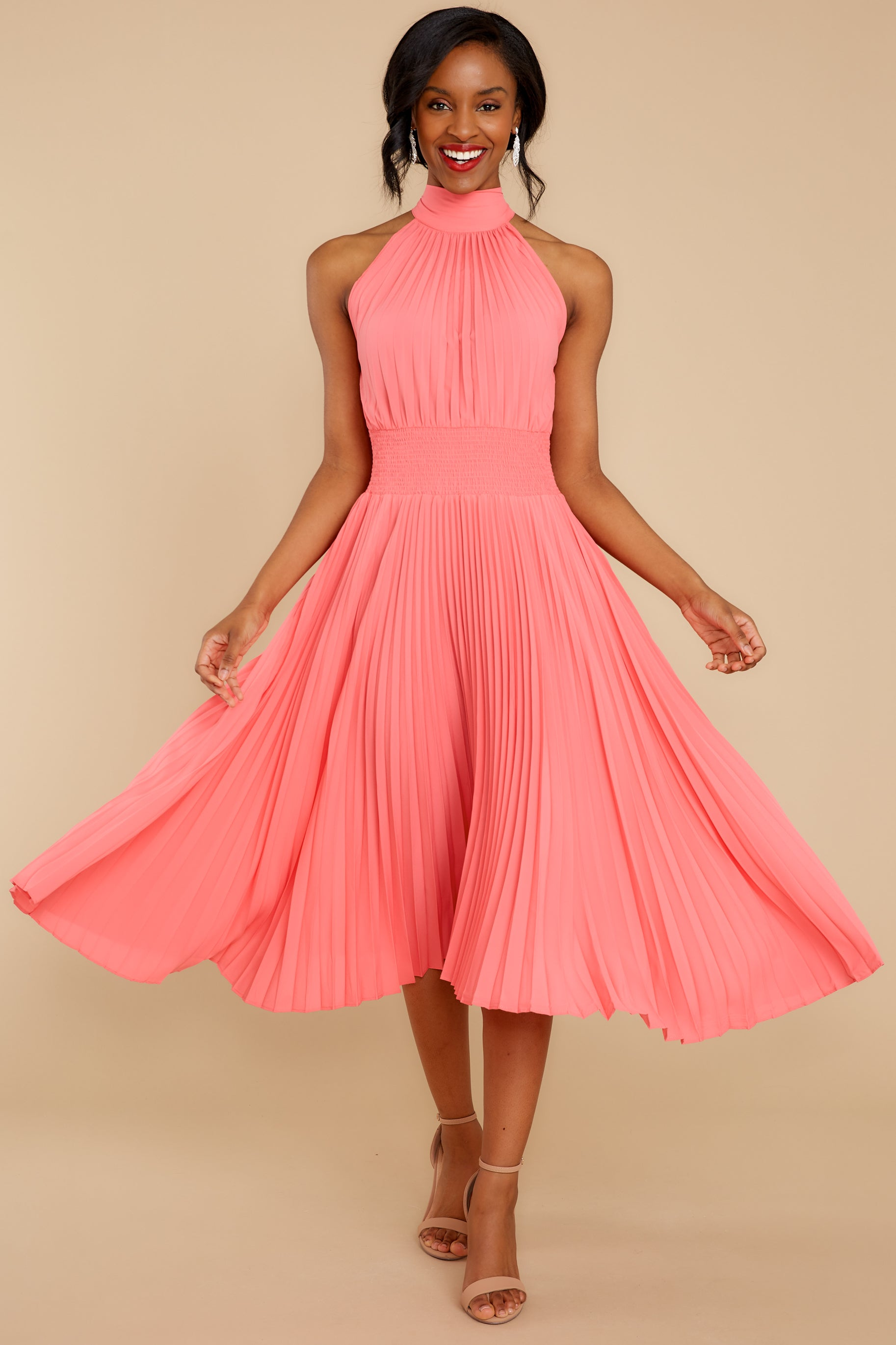 7 Fashionably Late Pink Midi Dress at reddressboutique.com
