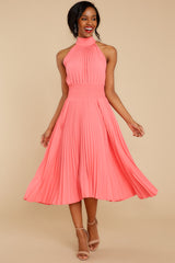 2 Fashionably Late Pink Midi Dress at reddressboutique.com