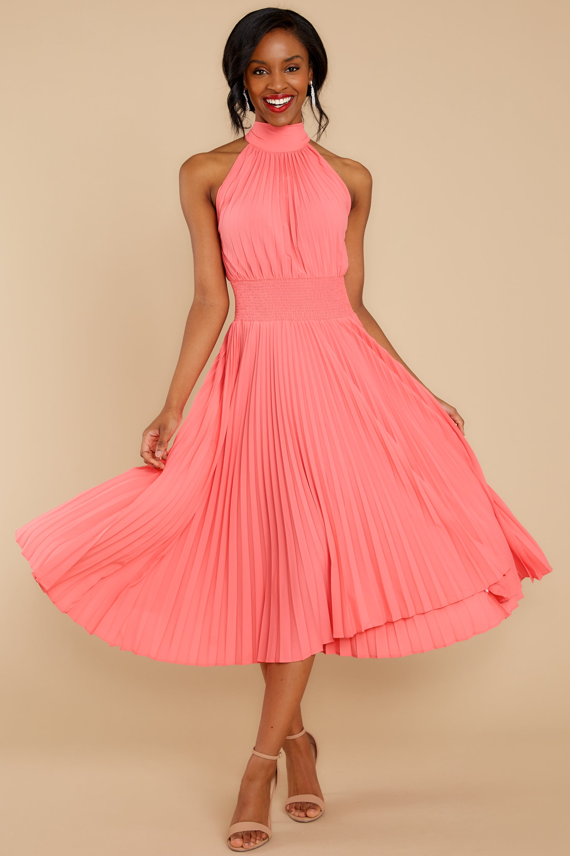 4 Fashionably Late Pink Midi Dress at reddressboutique.com