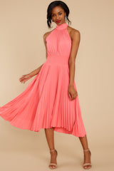 5 Fashionably Late Pink Midi Dress at reddressboutique.com