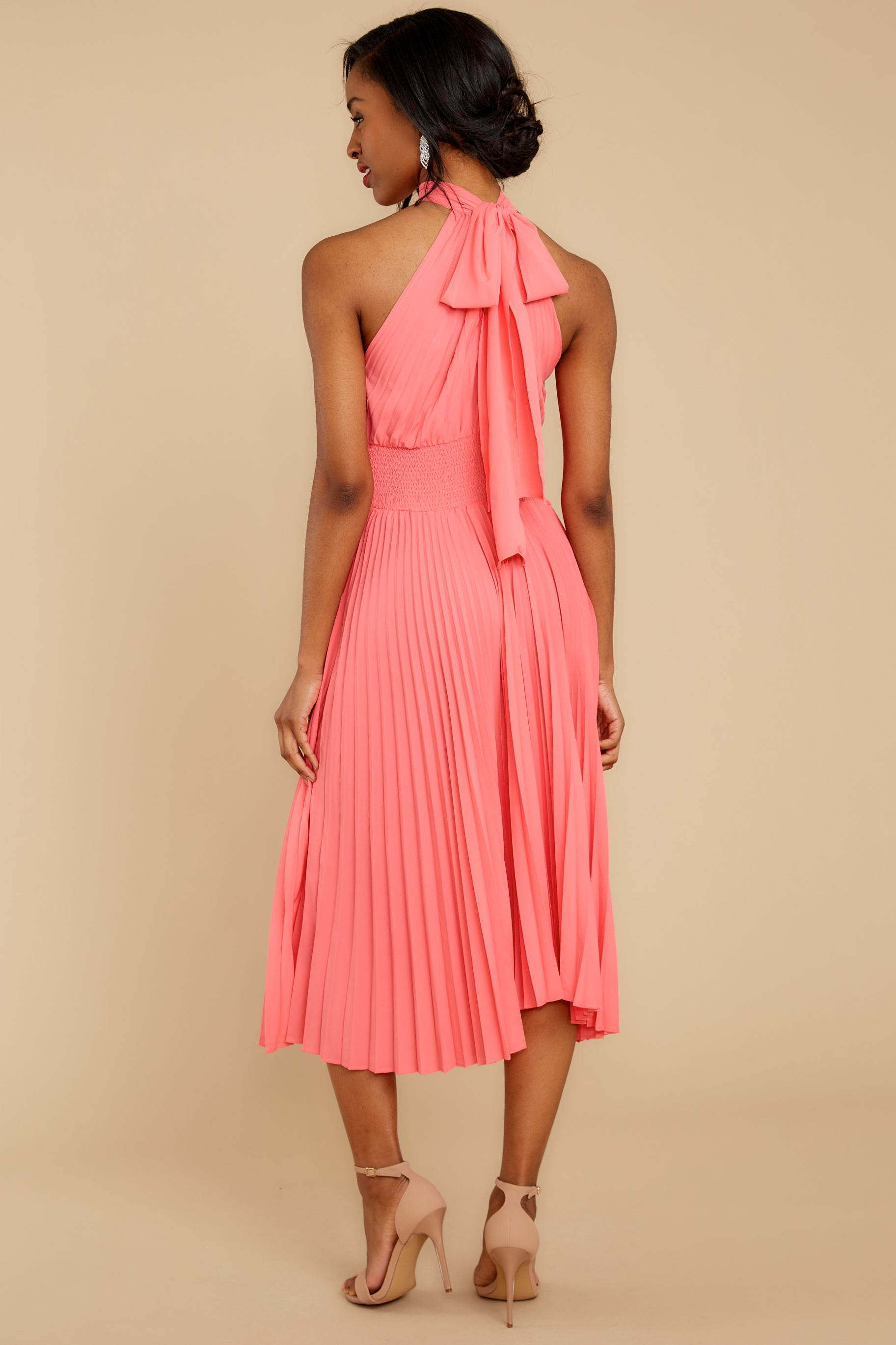 8 Fashionably Late Pink Midi Dress at reddressboutique.com