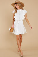 Belted High-Neck Flutter Sleeves Elasticized Waistline Dress With a Sash