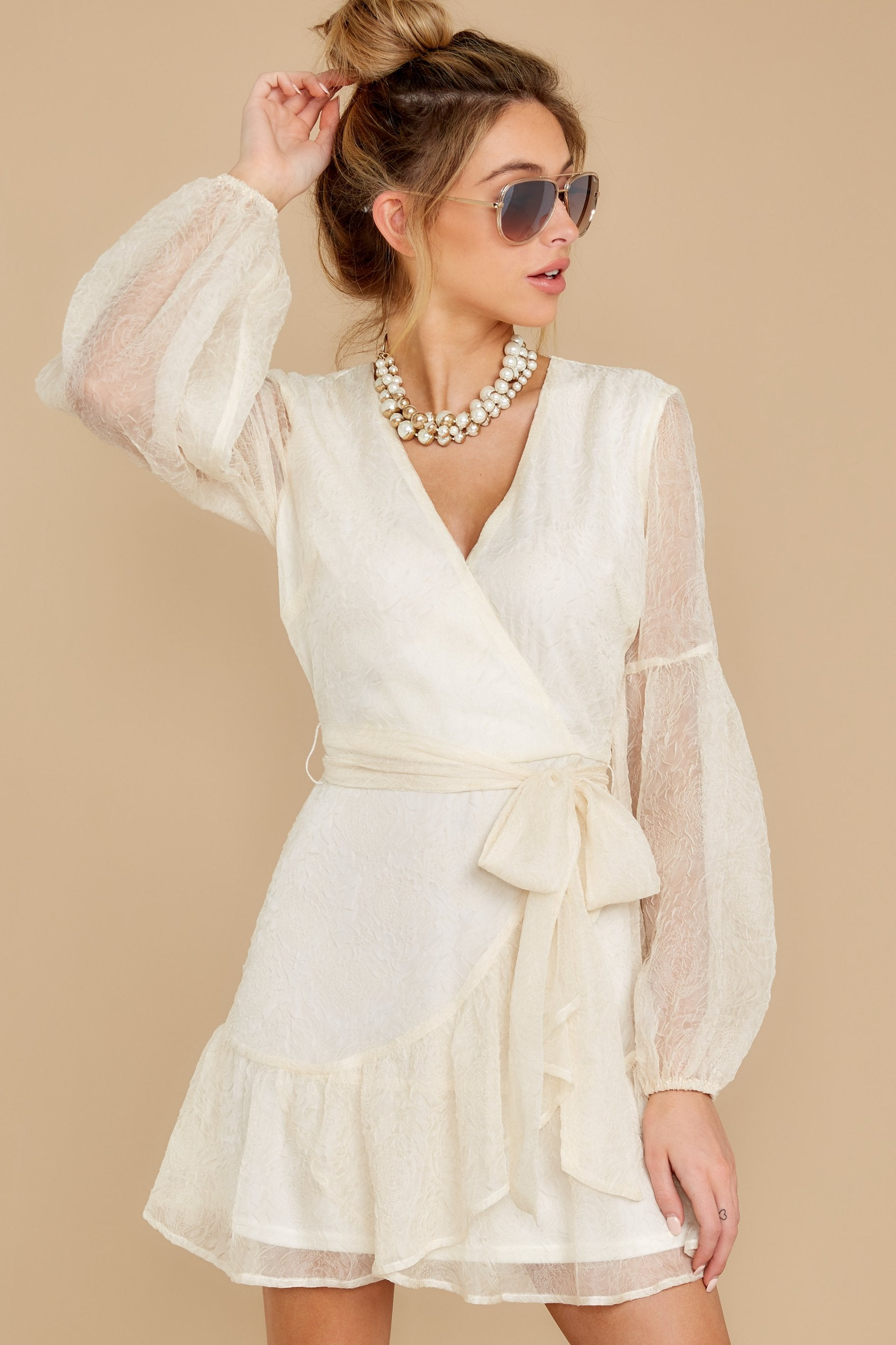 7 When It Comes To Love Vintage Ivory Dress at reddressboutique.com