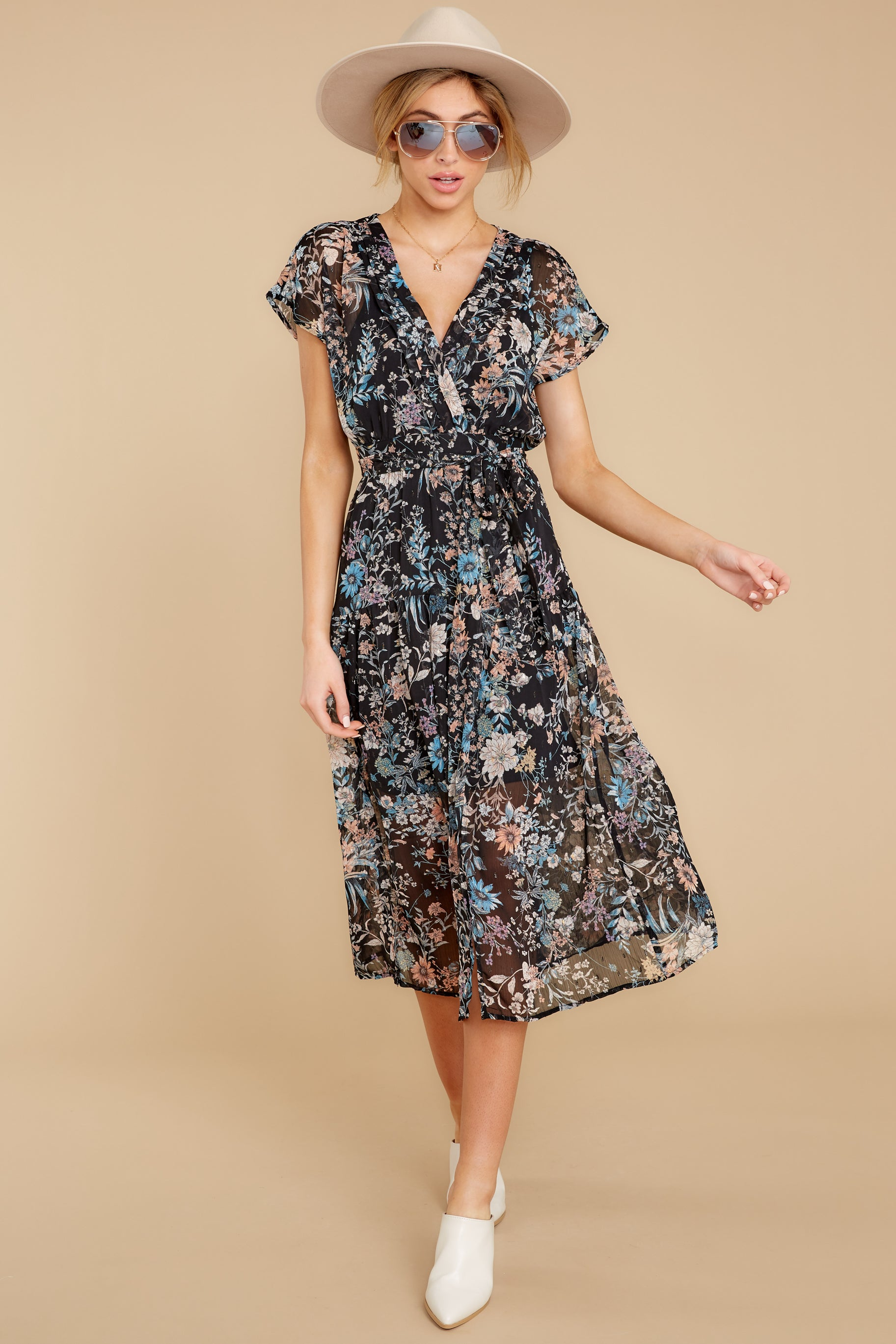 2 Take A Walk Black Floral Print Midi Dress at reddressboutique.com