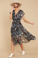 3 Take A Walk Black Floral Print Midi Dress at reddressboutique.com