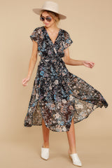 4 Take A Walk Black Floral Print Midi Dress at reddressboutique.com