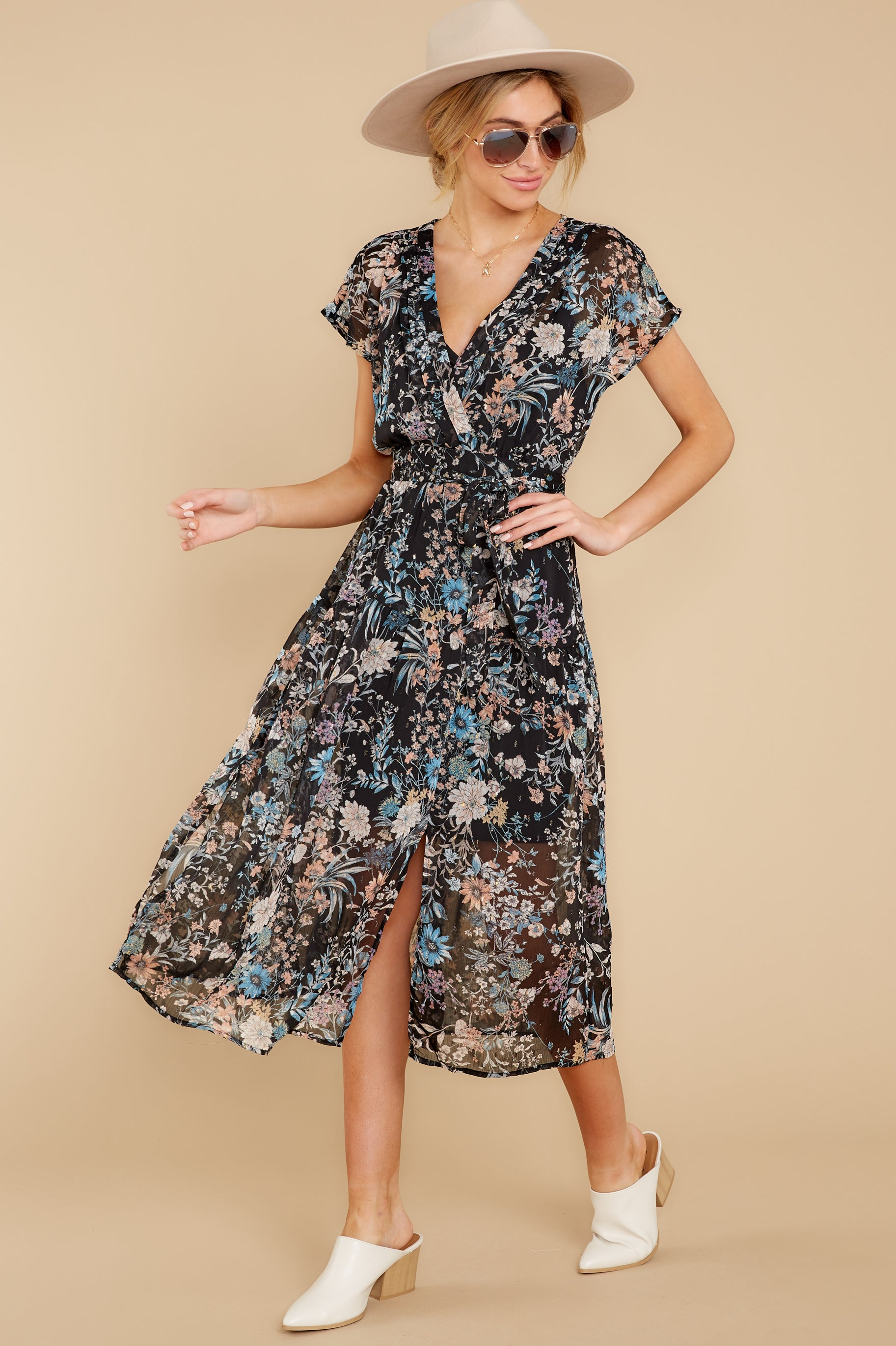 5 Take A Walk Black Floral Print Midi Dress at reddressboutique.com