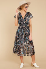 6 Take A Walk Black Floral Print Midi Dress at reddressboutique.com