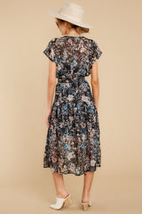 7 Take A Walk Black Floral Print Midi Dress at reddressboutique.com