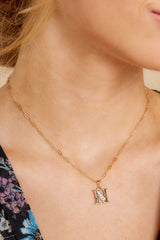 32 N Block Initial Necklace at reddressboutique.com