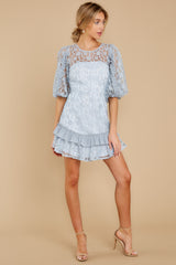 4 Sweet Love Light Blue Lace Dress at reddressboutique.com
