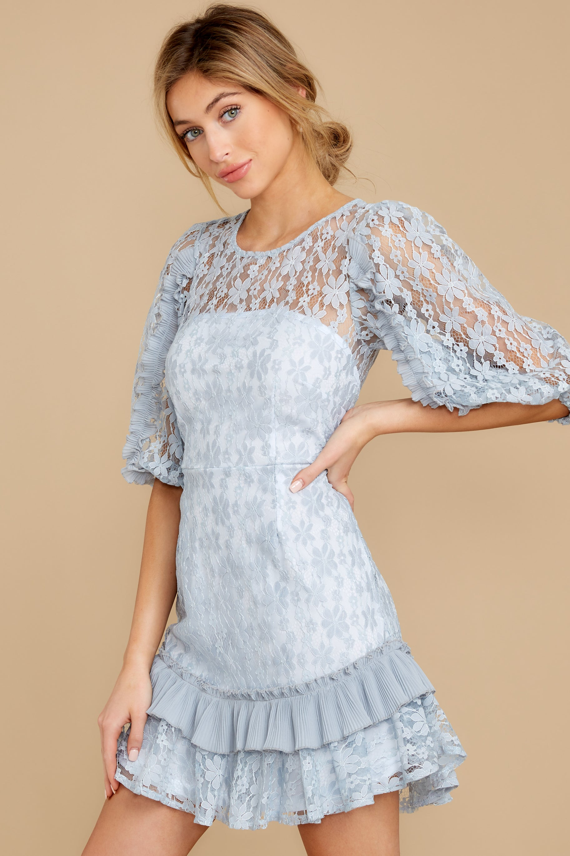 6 Sweet Love Light Blue Lace Dress at reddressboutique.com