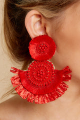 1 Doing It Well Red Statement Earrings at reddressboutique.com