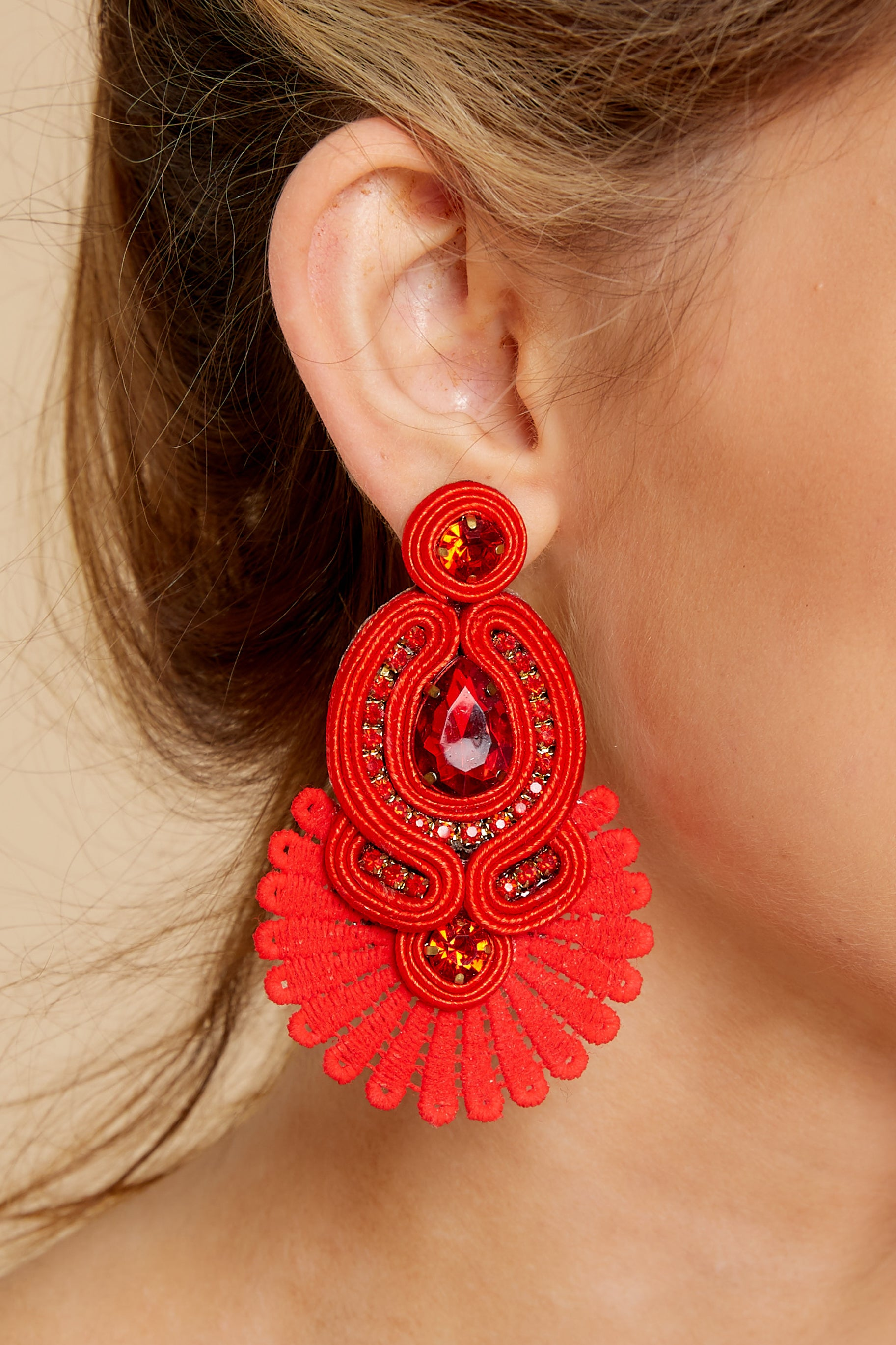 1 Cast Away Red Statement Earrings at reddressboutique.com