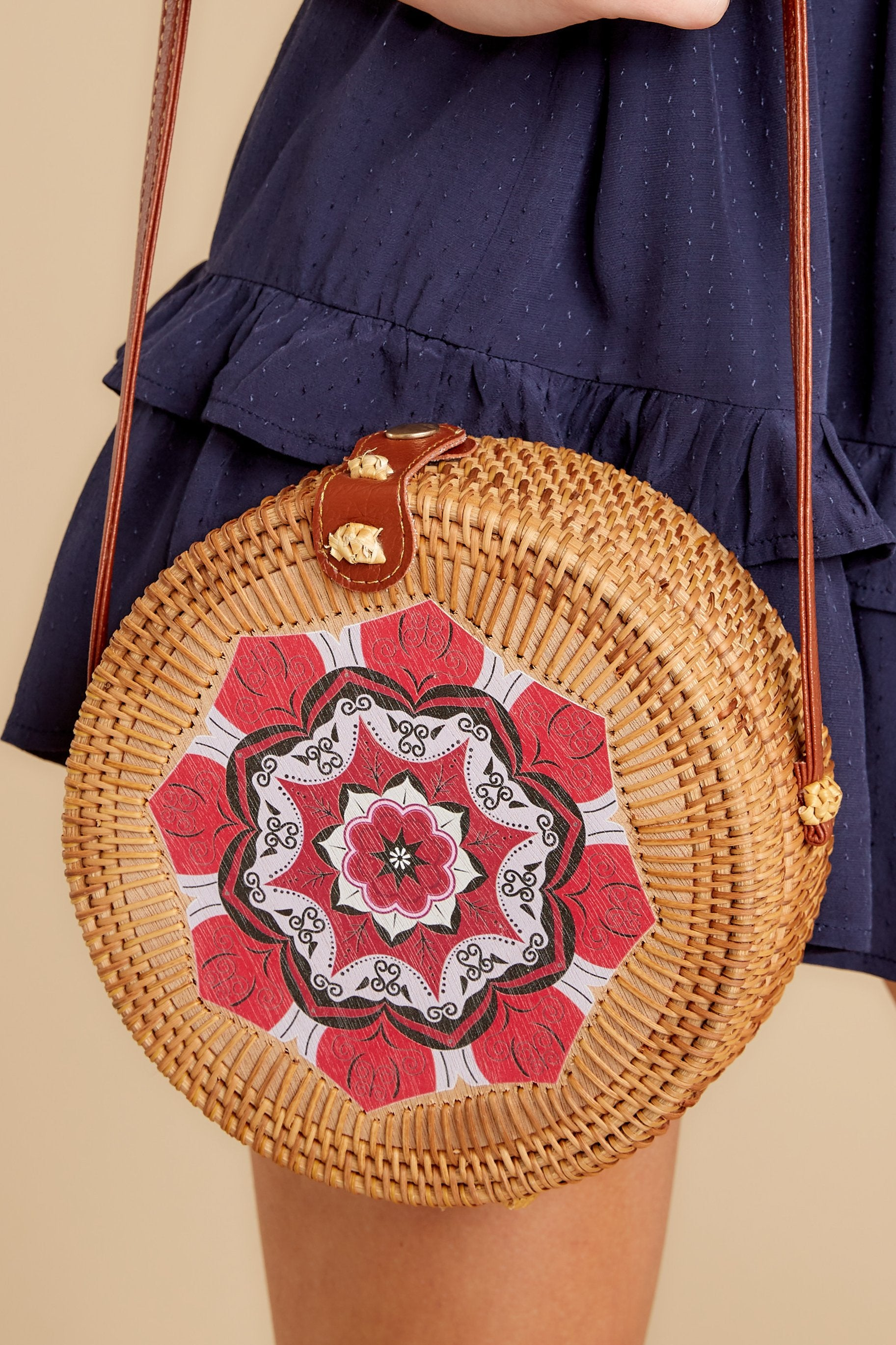 1 A Little Charmed Red Printed Round Bag at reddressboutique.com