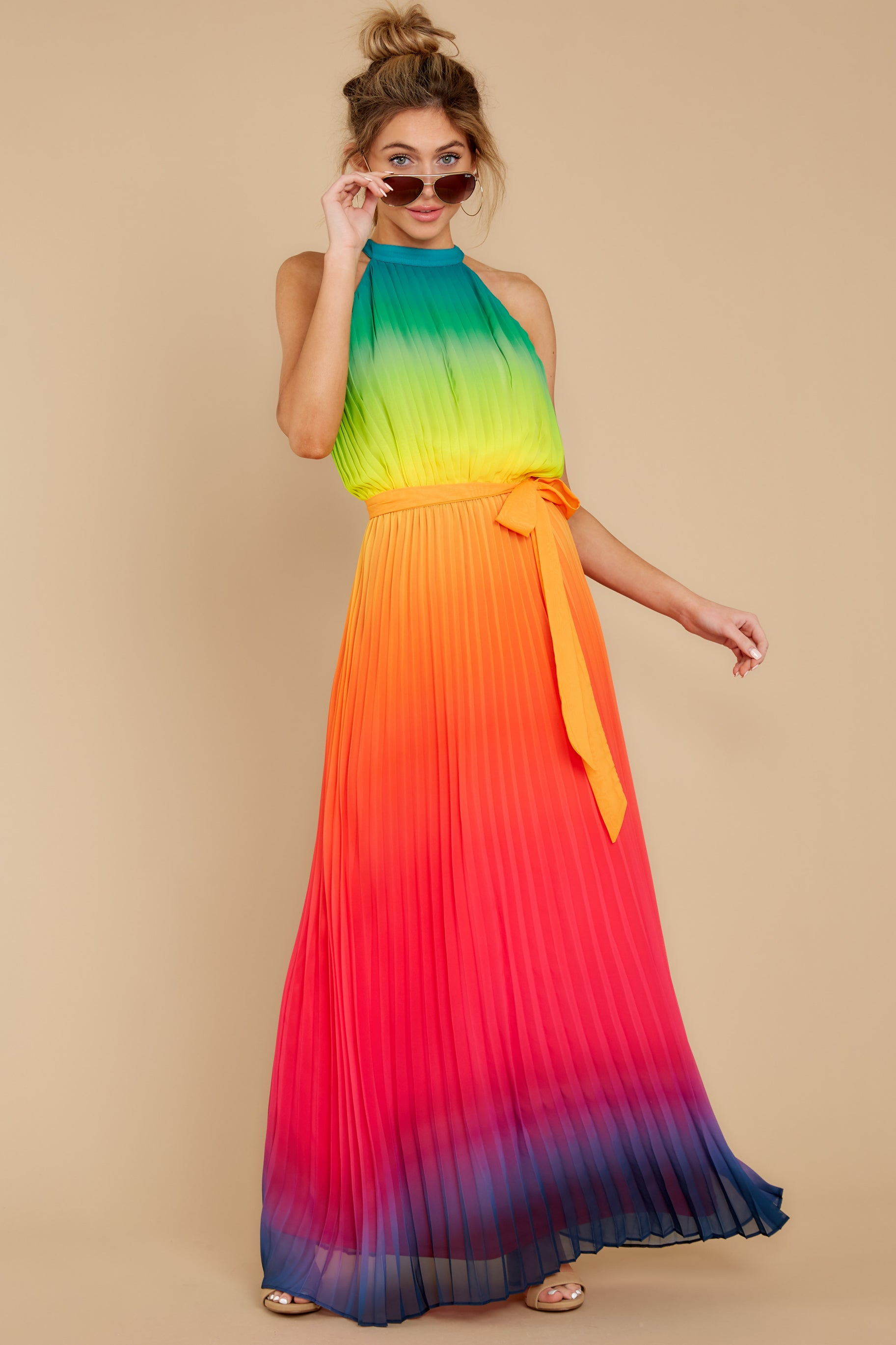 7 Walk Your Talk Rainbow Maxi Dress at reddressboutique.com