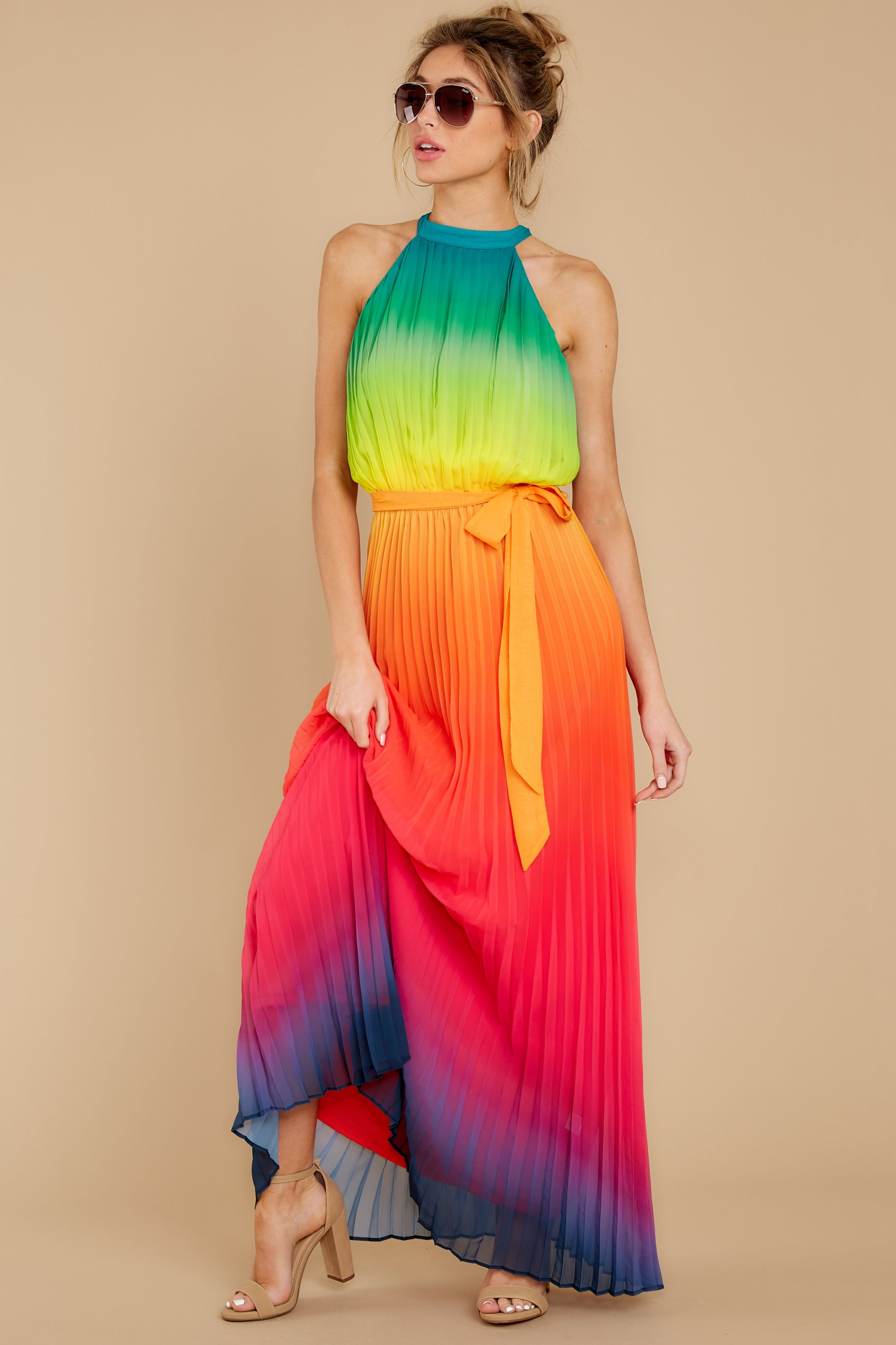 2 Walk Your Talk Rainbow Maxi Dress at reddressboutique.com