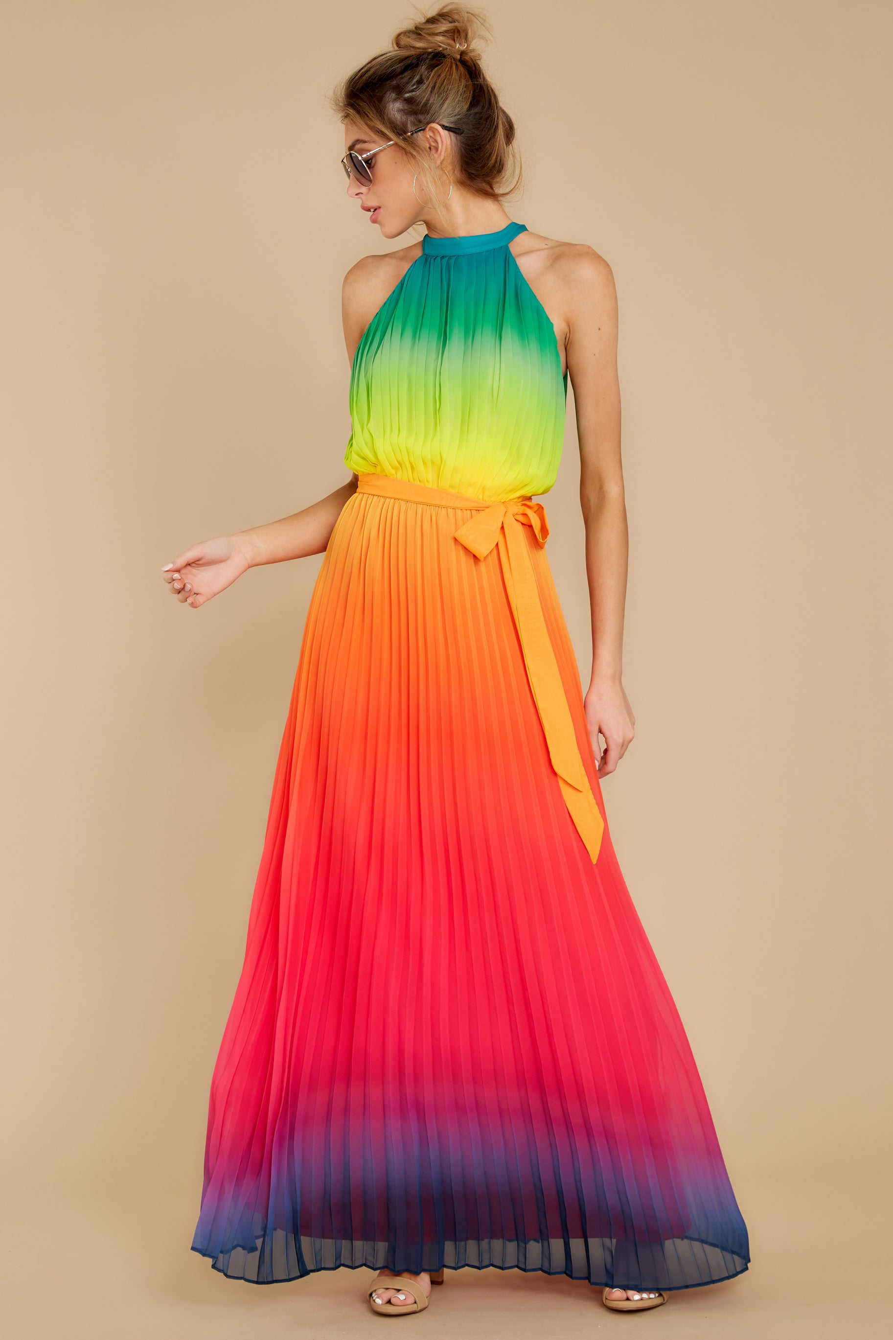 3 Walk Your Talk Rainbow Maxi Dress at reddressboutique.com