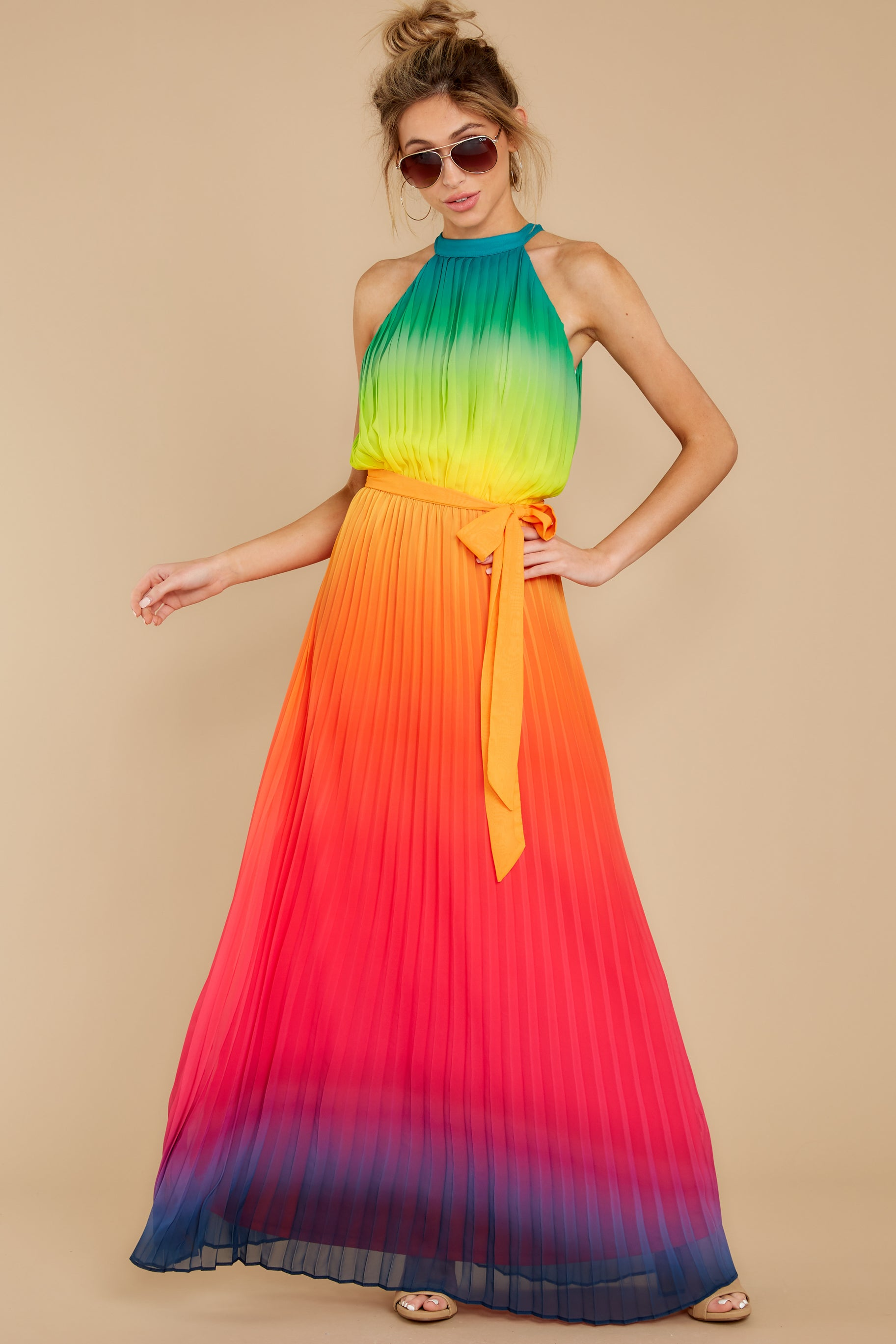 1 Walk Your Talk Rainbow Maxi Dress at reddressboutique.com