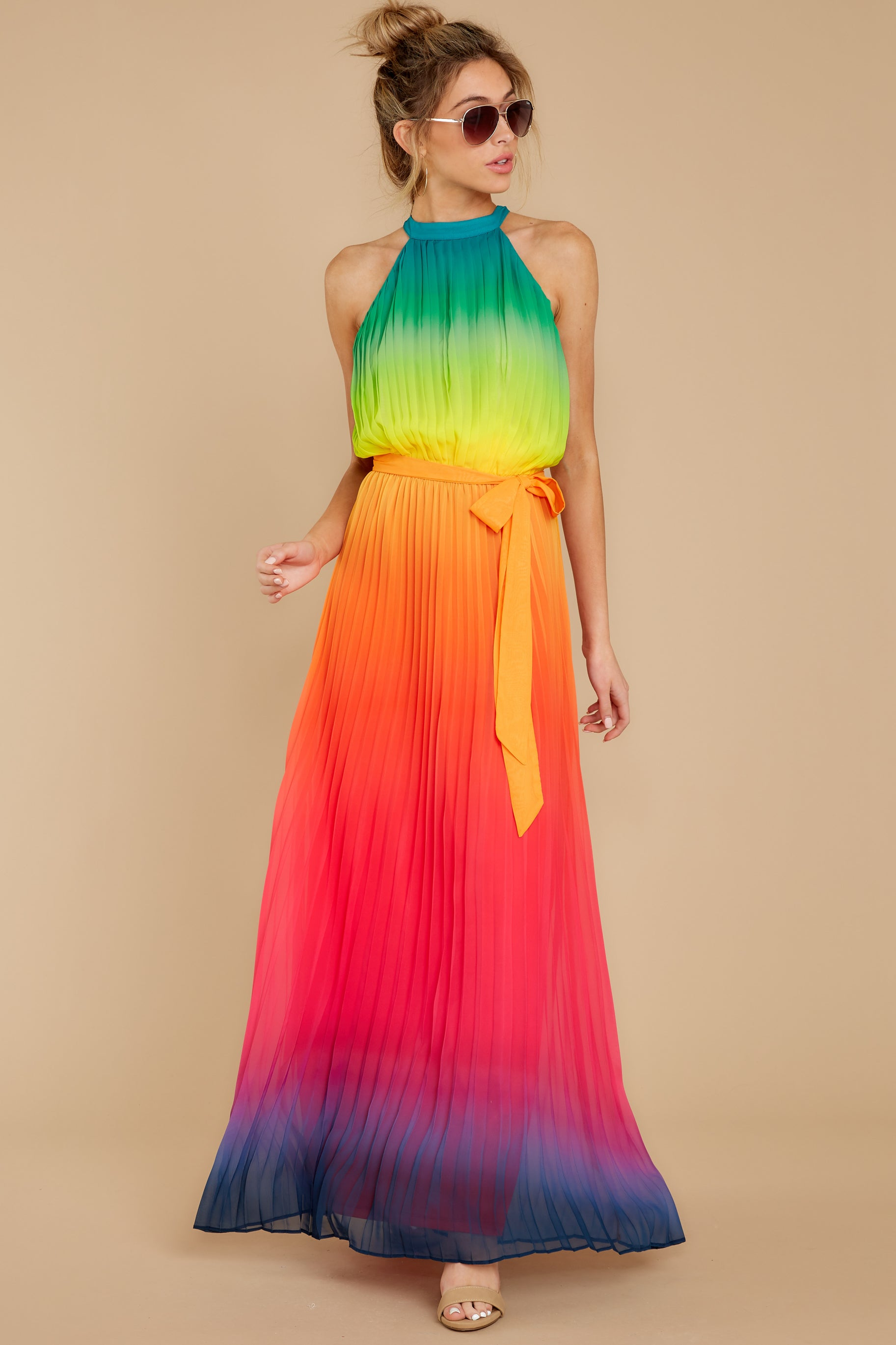 5 Walk Your Talk Rainbow Maxi Dress at reddressboutique.com