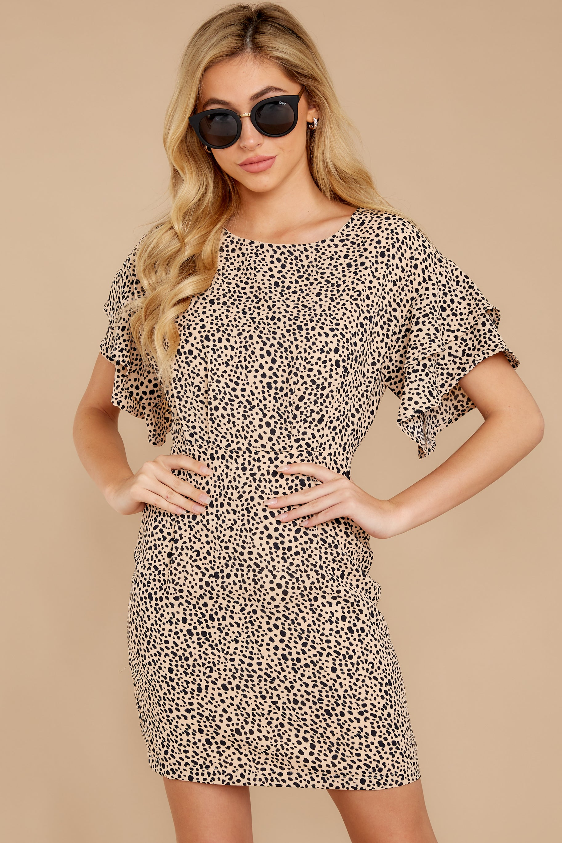 Chasing You Beige Cheetah Print Dress