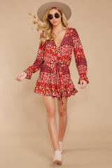 2 Sweet Rendezvous Red Floral Print Two Piece Set at reddress.com