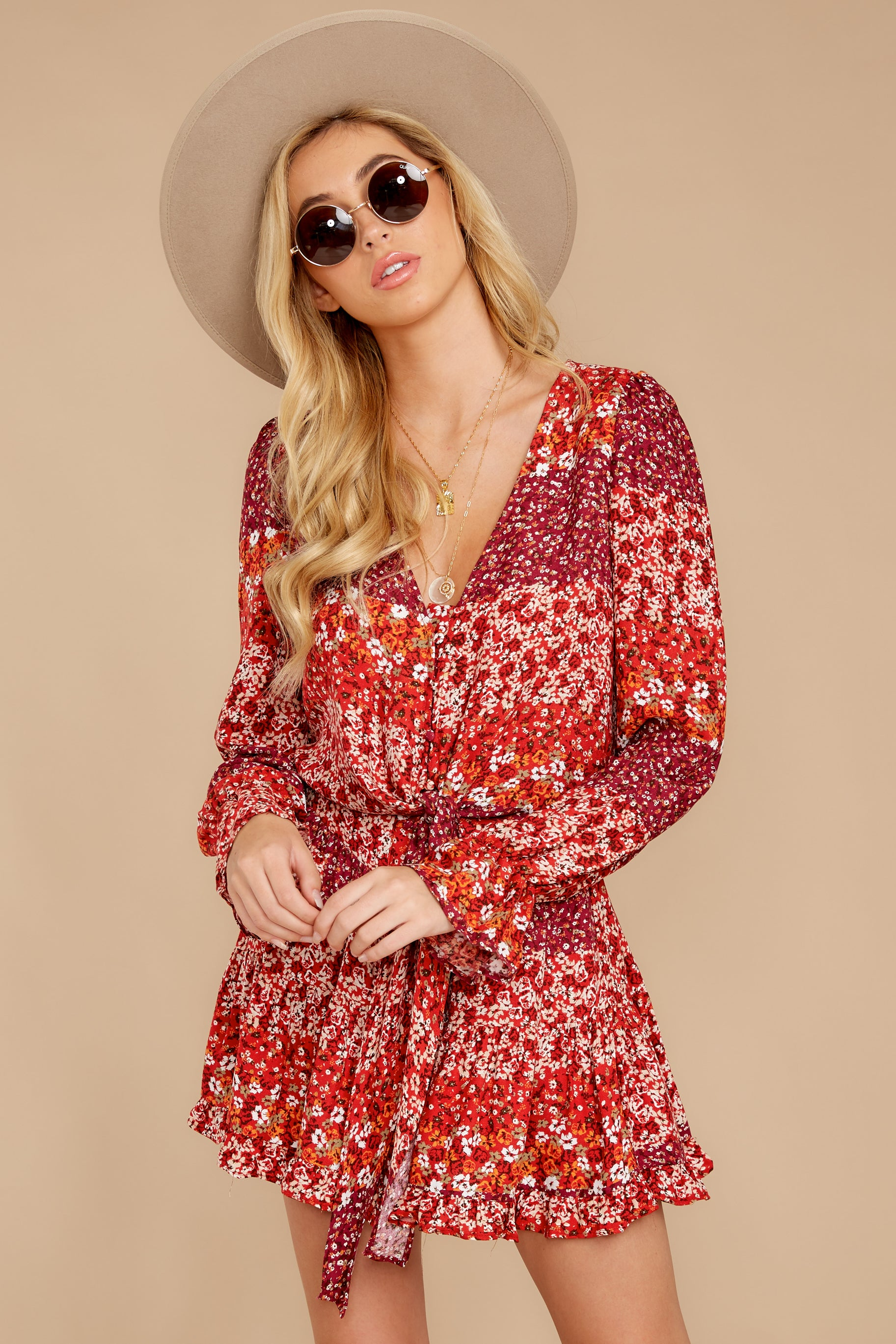 4 Sweet Rendezvous Red Floral Print Two Piece Set at reddress.com