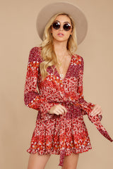 5 Sweet Rendezvous Red Floral Print Two Piece Set at reddress.com