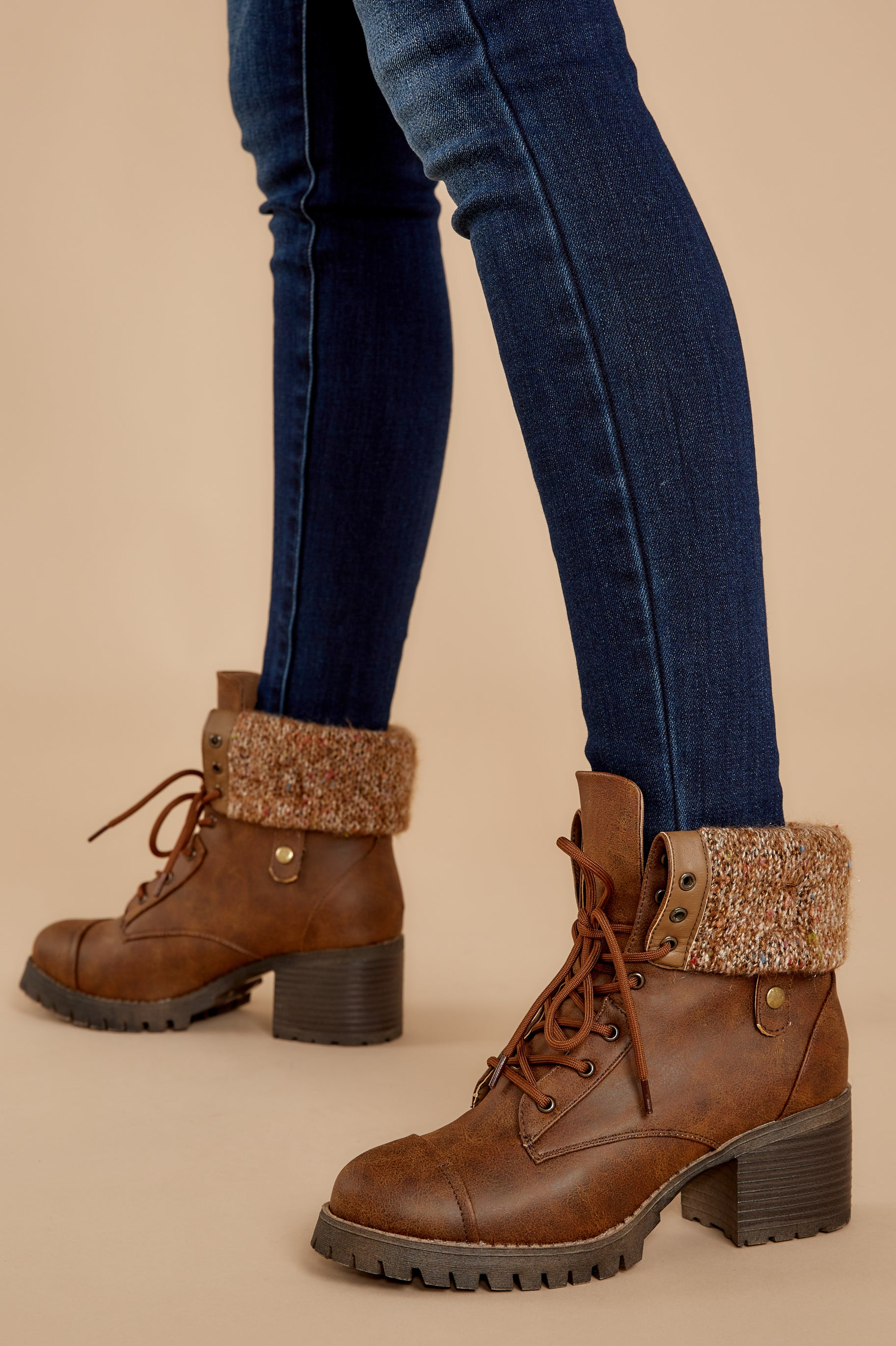 1 Somewhere Out There Brown Lace Up Boots at reddress.com