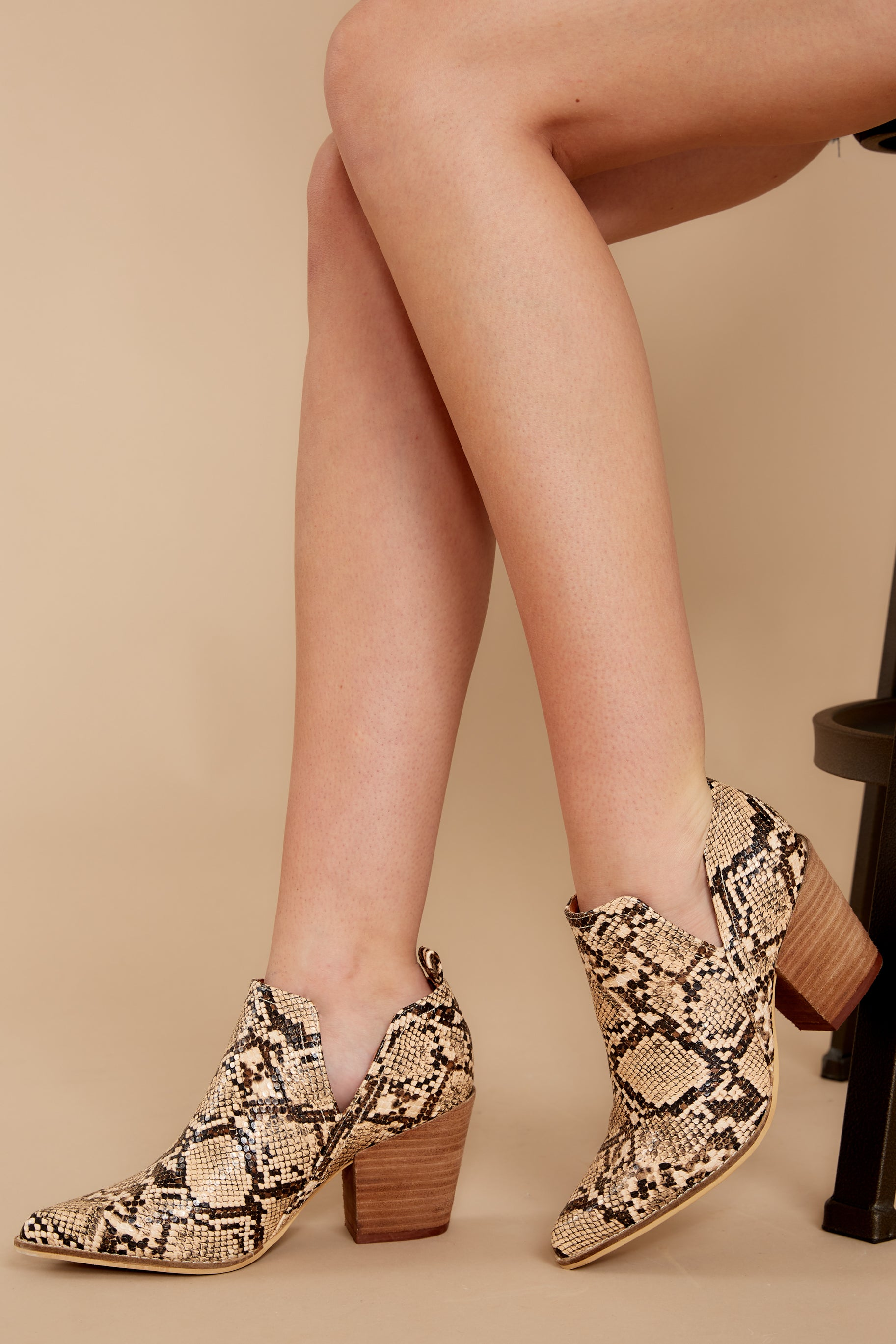 Change The Tempo Tan Snakeskin Ankle Booties