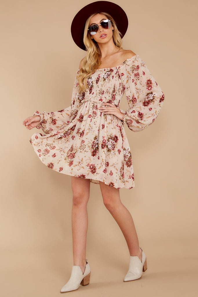 1 Make It A Date Night Light Pink Floral Print Dress at reddress.com
