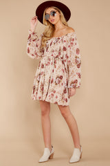 2 Another Love Story Ivory Blush Floral Print Dress at reddressboutique.com