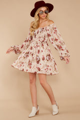 3 Another Love Story Ivory Blush Floral Print Dress at reddressboutique.com