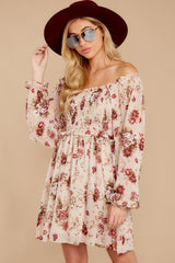 4 Another Love Story Ivory Blush Floral Print Dress at reddressboutique.com