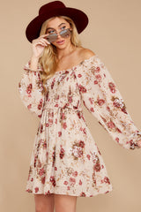 5 Another Love Story Ivory Blush Floral Print Dress at reddressboutique.com