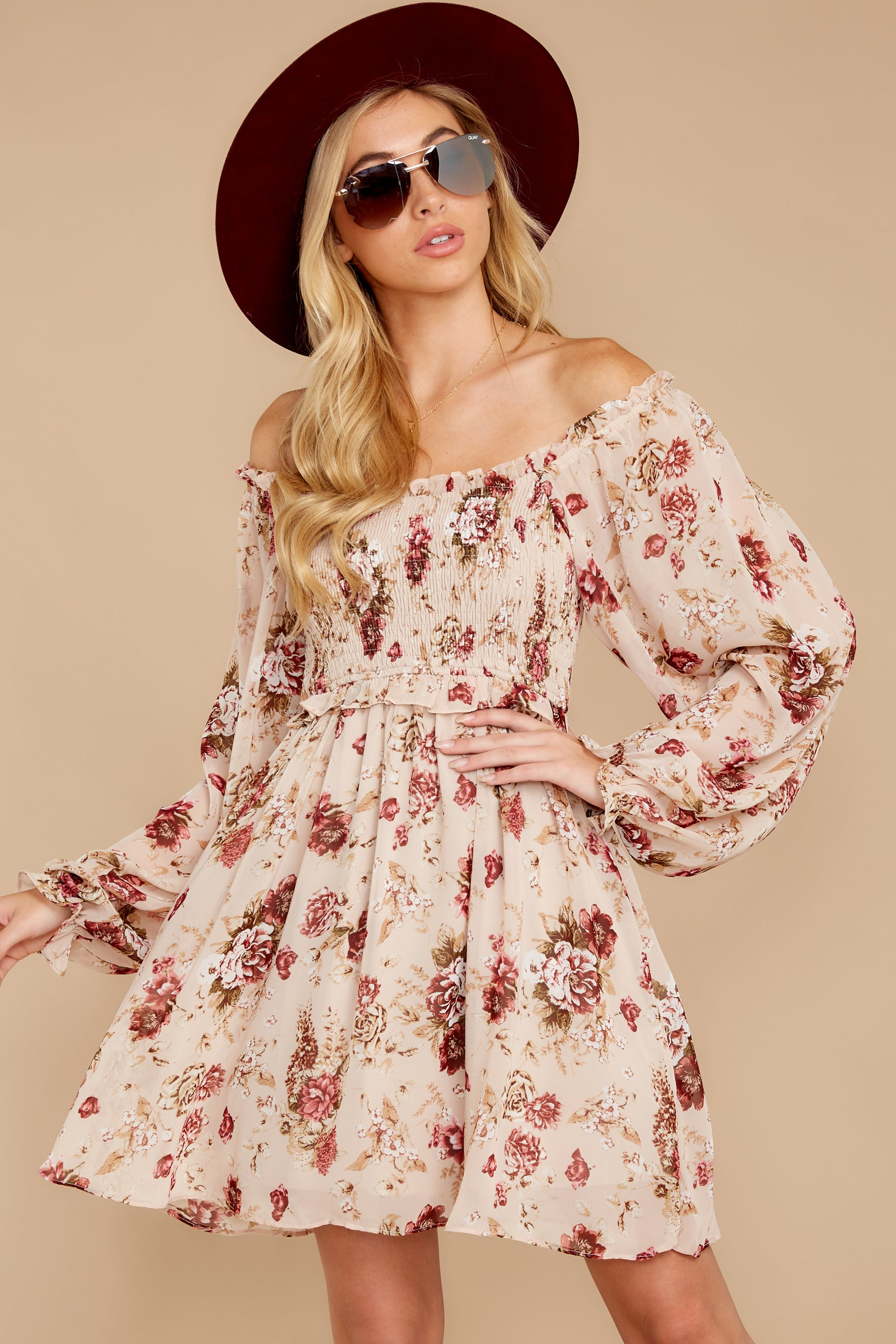 7 Another Love Story Ivory Blush Floral Print Dress at reddressboutique.com