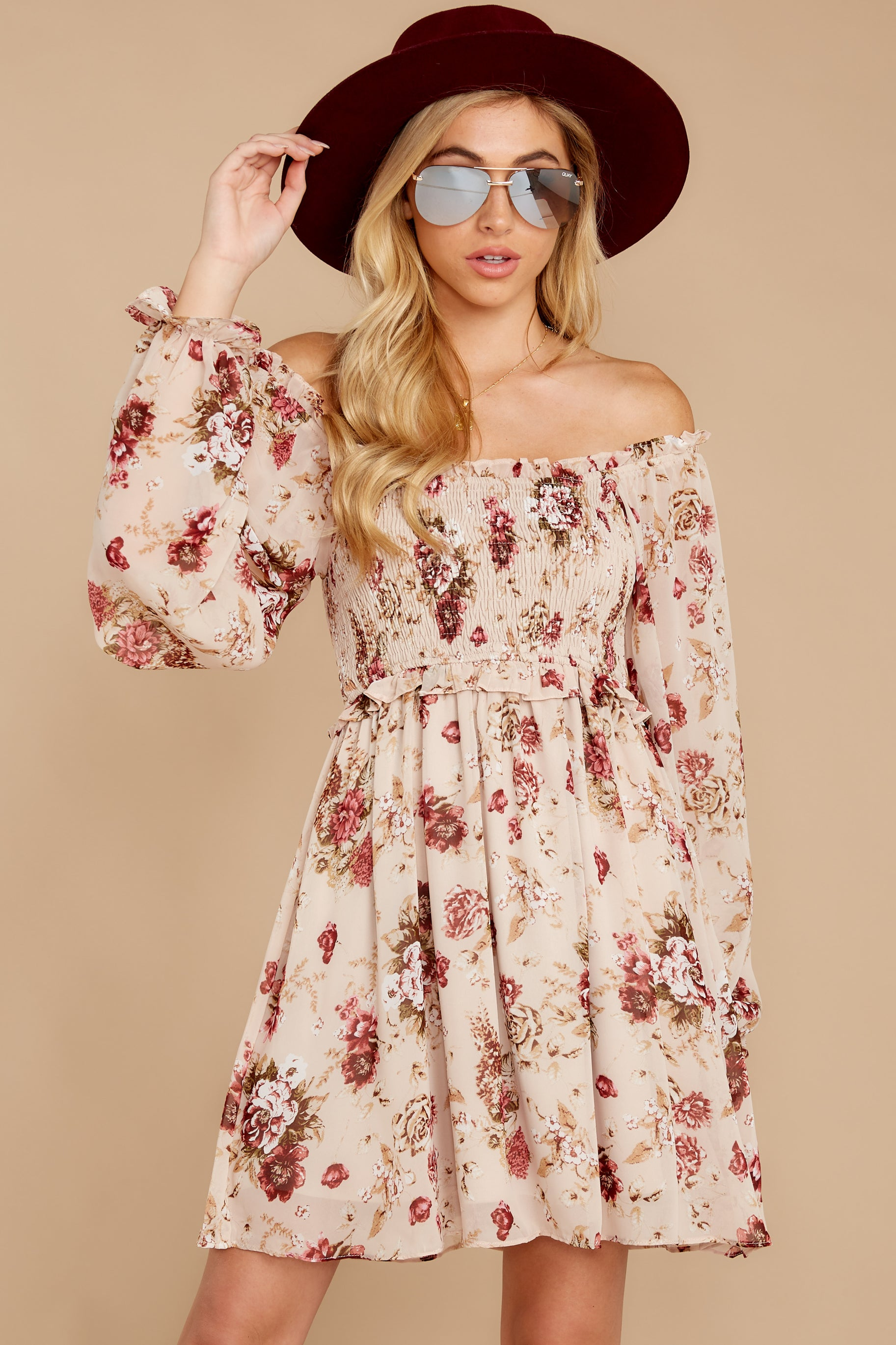 6 Another Love Story Ivory Blush Floral Print Dress at reddressboutique.com