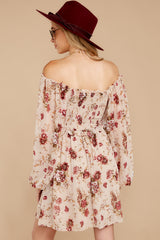 8 Another Love Story Ivory Blush Floral Print Dress at reddressboutique.com