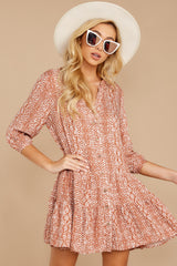 Just Comes Naturally Rust Orange Snake Print Dress