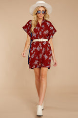 1 Carried Away Burgundy Floral Print Dress at reddressboutique.com