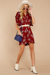 2 Carried Away Burgundy Floral Print Dress at reddressboutique.com